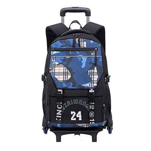 Wheeled Rolling Backpack for Adults and School Students Books Travel Bag Trolley Backpack Wheeled Bag Kids Removable Rolling Schoolbag 2 Wheels Waterproof GWBI-blue