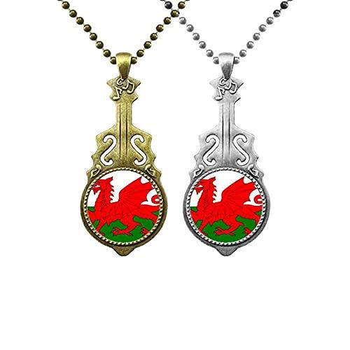 Wales National Flag Europe Land Liebhaber Musik Gitarre Anhänger Schmuck Halskette Anhänger