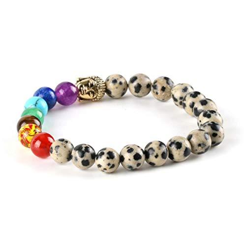 2Pcs 8mm 7 Chakra Women Men Bracelets Bangles OM Buddha Sodalite Dalmation Dot Mala Stone Beads Reiki Healing Meditation E450