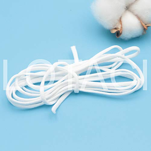 Elastic Bands for Sewing White Elastic Cord 1/8 Inch Heavy Stretch Rope Earloop String Round 10m