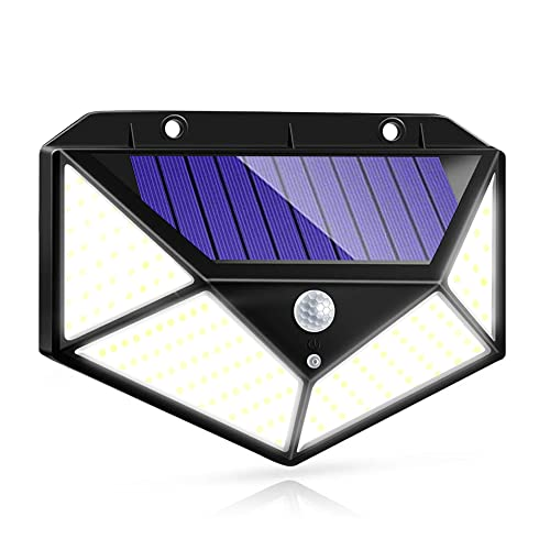 Luz Solar Exterior IOTSES 100LED 2200mAh 3 Modos con Sensor de movimiento 270ºde Cuatro Lados Foco IP65 Impermeable para Jardín, Garaje, Calle, Patio, Terraza etc. (1Unidd)