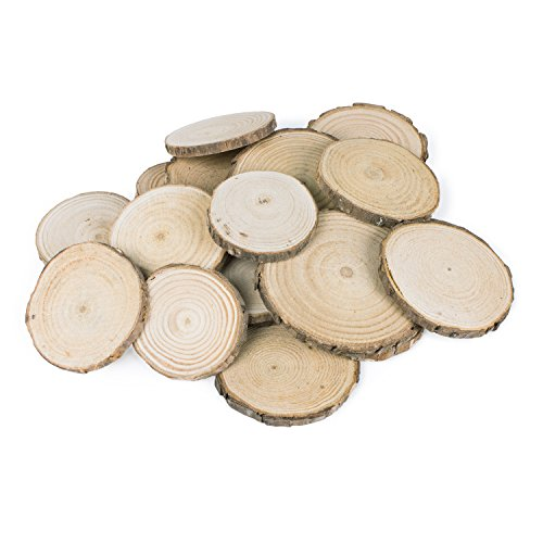 Mini Assorted Size Natural Color Tree Bark Wood Slices Round Log Discs for Arts & Crafts, Home Hanging Decorations, Event Ornaments (5-8cm, 20pcs)