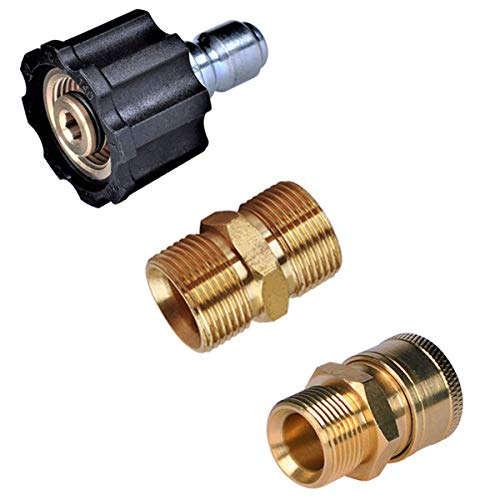 """YAMATIC Upgrade Pressure Washer Fittings, M22 to 3/8"""" Quick Connectors, Presusre Washer Hose Adapters, 5000 PSI"""
