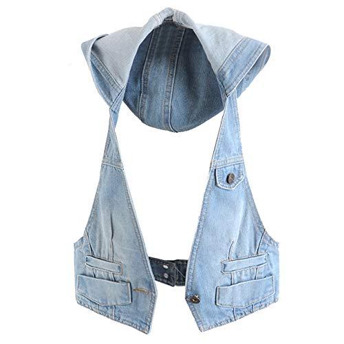 CYSTYLE Damen Jeansweste Jacke Ärmellos Frühling Sommer-Weste College Style Beiläufige Jeansweste Denim Weste mit Kapuze (Blau, M)