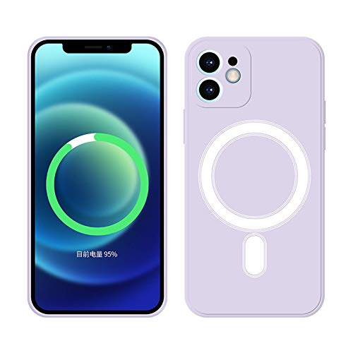 CYXYX Funda de teléfono móvil de imán integrado de silicona líquida de para iPhone12 / 12PRO Fuerte cubierta protectora magnética, shock ultra delgada antigota, para la carga inalámbrica de Ma