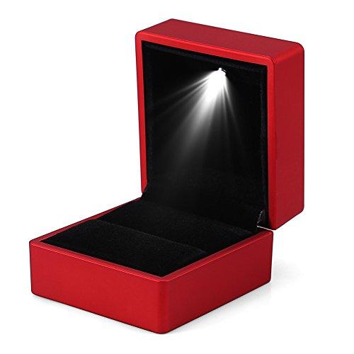 Modische LED Ring Box Leuchten Ring Aufbewahrungskoffer Schmuckhalter (Rot)