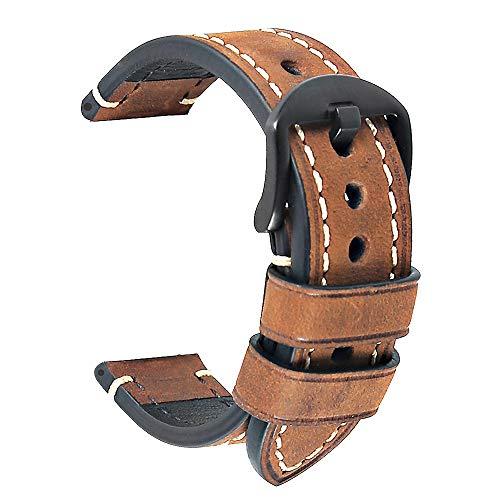 Correa Reloj Hebilla Negra Cuero Correa Piel Correas para Relojes Crazy Horse Pulsera los Hombres Reemplazo Clásico de la Vendimia Panerai Aplicable Todo Tipo Deportivo 24mm Marrón