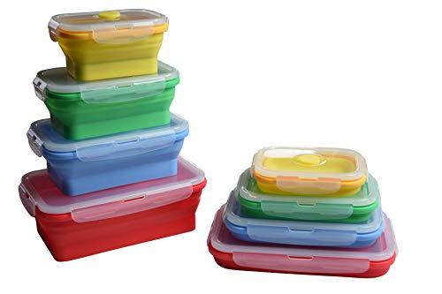 KYBEGO 4X Faltbare Aufbewahrungsbehälter, Frischhaltedosenfür Lebensmittel Silikon Brotbox zusammenklappbare Lunch Bento Box für Mikrowellen Kühlschrank Premium Brotdose einziehbare Frischhaltebox