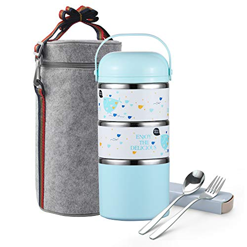 Arderlive Insulated Stainless Steel Lunch Box,Thermal Compartment Stackable Bento Box With Lunch Bag & Cutlery(3-Tier,Whale)