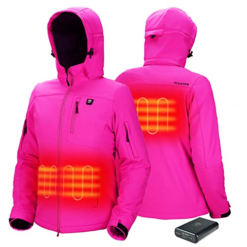 TIDEWE Heated Jacket for Women with Battery Pack, Hunting Coat (Pink, Size M)