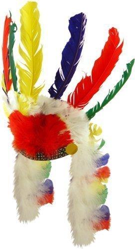 pour Hommes Femmes Amérindien Indien Rouge Coiffe Plume Far West Déguisement Cowboy Costume Chapeau - Rouge, Rouge, One Size