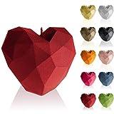 Candellana Vela en forma de corazón Low Poly, Altura: 8 cm, Rojo, Hecho a mano en la UE
