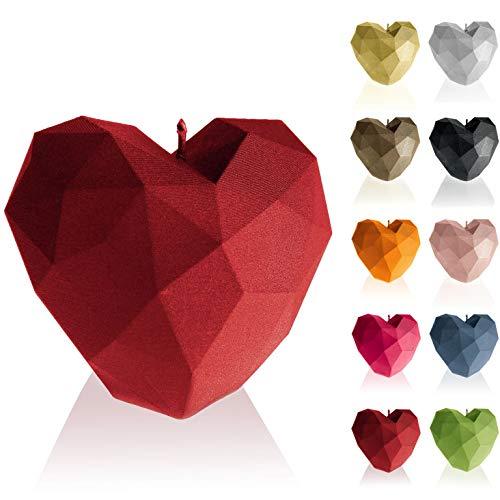 Candellana Kerze Heart Low Poly | Höhe: 8 cm | Rot | Handgefertigt in der EU