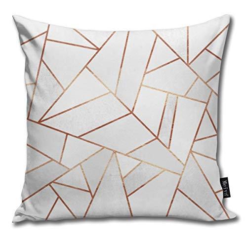 Funda de cojín decorativa para el hogar, diseño de líneas de cobre, color blanco
