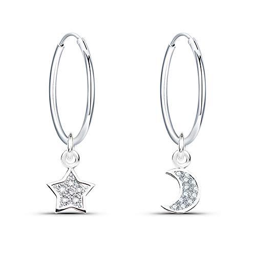 925 Silber Ohrringe Damen Creolen mit Anhänger Mond und Stern Ohrhänger mit 3A Zirkonia Ohrringe Damen Hängend Kreolen Durchmesser 16mm Ohrschmuck Ohrringe für Damen Frauen und Mädchen Kinder