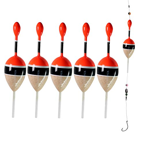 """thkfish 0.17oz 1.6""""x4.8""""Slip Bobbers for Fishing Saltwater Freshwater Fishing Bobbers Floats for Crappie Panfish Bass Trout 5Pcs/Set (5pcs 5g/0.17oz red and Wood Color)"""