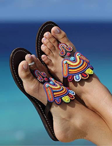 Globalhandmade Summer Bead Sandal Shoes for Women - Handmade women's Leather Reef Flip Flops