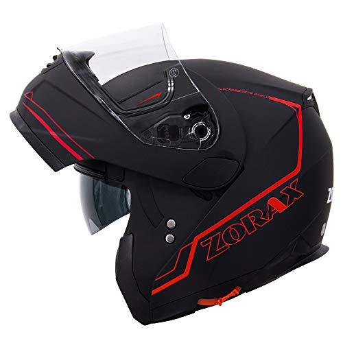 Zorax Matt Schwarz/Rot L (59-60cm) ZOR-838 Klapphelm Integralhelm mit Doppelvisier Motorradhelm Damen und Herren ECE Genehmigt