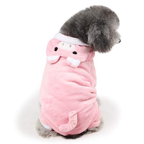 DELIFUR - Disfraz de cerdo para perro 2019, tamaño pequeño y mediano, con capucha, gato, Halloween, Chriasmtas