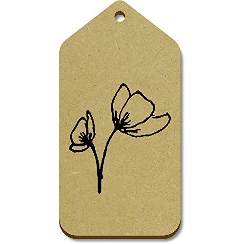 Azeeda 10 x Large 'Poppies' Wooden Gift Tags (TG00095324)