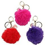 Amosfun 3 llaveros con pompón de peluche, diseño de animales con pompones de pelo, decoración navideña para llaves de coche, color morado