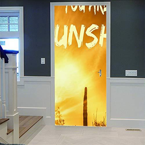 3D deur sticker DIY deur behang kunst ontwerp muursticker kunst sticker foto voor slaapkamer huis deur sticker woonkamer kantoor muursticker decoratie 77X200 cm
