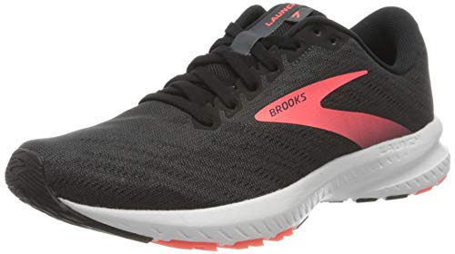 Brooks Womens Launch 7 Running Shoe, Ebony/Black/Coral, 40.5 EU