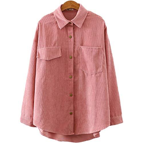 Katenyl Chaqueta de camisa de manga larga para mujer Color puro Moda casual Todo-fósforo Streetwear Abrigo clásico con botones de solapa regular M