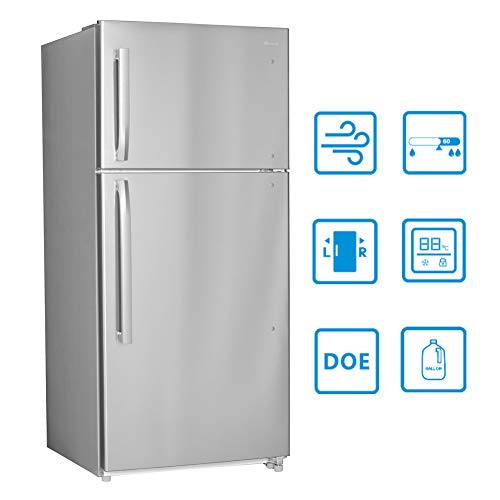 Smad 30' Top Mount Freezer Refrigerator 18 Cu.Ft 2 Door Apartment Size Refrigerator, Stainless Steel