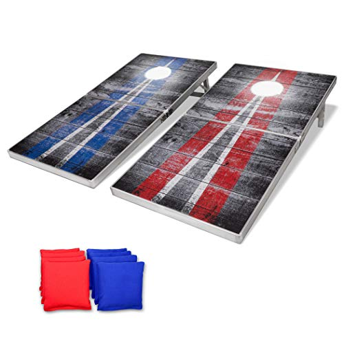 GoSports LED Rustic Design Cornhole Set, Regulation Size, Red & Blue, Model: None