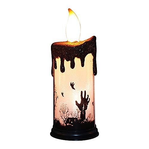 KIHL Velas parpadeantes sin Llama de Halloween, lámpara LED de luz, candelabro, Adorno de Mesa, decoración de iluminación para Fiestas en el hogar, Mano Fantasma