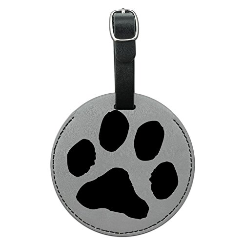Graphics & More Paw Print Pet Dog Cat Round Leather Luggage Id Tag Suitcase Carry-on, Black