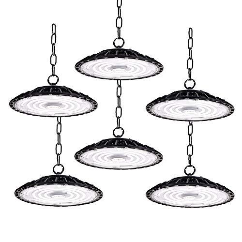 6er 100W LED Strahler Industrielampe, UFO LED Werkstattlampe 10000LM Hallenstrahler, IP65 Wasserdichte 120°Abstrahlwinkel Hallenbeleuchtung 6500K, Lampen LED High Bay Licht für Industrie Deckenleuchte