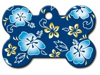Polka Dots | Flowers | Fun Collection Licensed Personalized Custom Engraved Pet ID Tags! (Hawaiian Flowers Blue (Bone), Large)