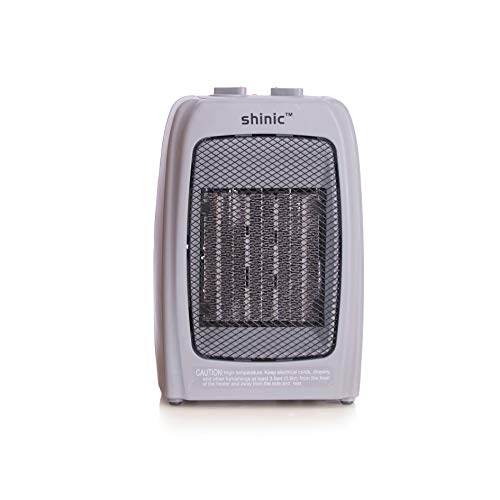 Shinic 750W/1500W Portable Ceramic Space Heater for Home and Office with Adjustable Thermostat-ETL Listed (Gray)