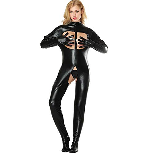 SHANGXIAN Women Sexy Black Jumpsuit Latex Catsuit Open Crotch Patent Leather Spandex Latex Leotard,M