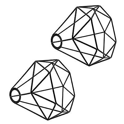 "2pcs Bird Cage Lamp - Motent Industrial Metal Lamp Guard 6.2"" Dia for DIY Pendant Lighting Fixture Ceiling Light Wall Lamp - Black"