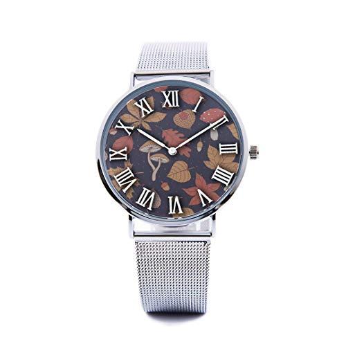 Unisex Fashion Watch Abstract Background Maple Leaf Aspen Leaf Pumpkin Autumn Design Print Dial Quartz Stainless Steel Wrist Watch with Steel Strap Watchband for Women/Men 36mm&40mm Casual Watch -  NQEONR, 20190321-WATCH-338-1170480184