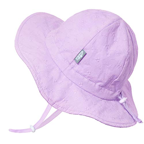 JAN & JUL Cotton Beach Little Girls Sun-Hat with UV Protection (L: 2-5 Years, Lavender Eyelet)