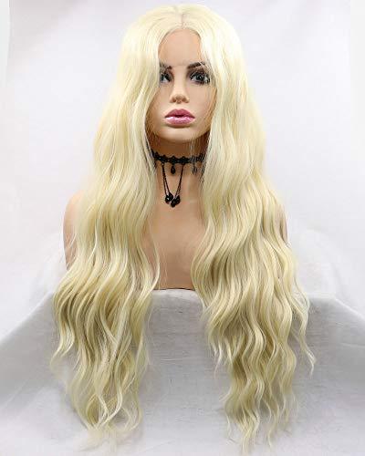 Femme de remplacement synthétique Lace Front Perruques pour cosplay Party Coiffure Naturel Wave Cheveux longs Blond clair avec Orange Tone Couleur côt