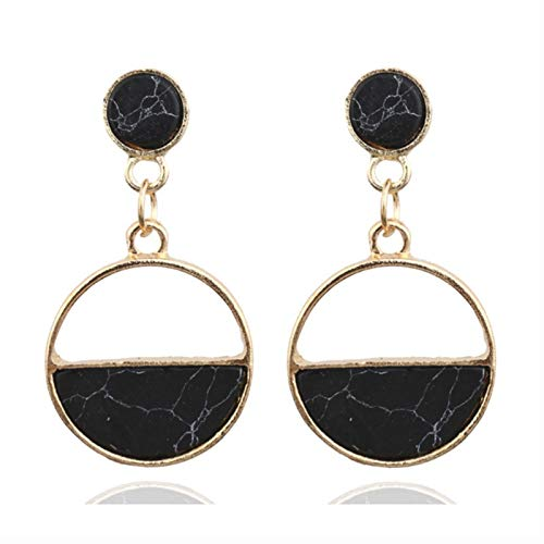 QIN Women's earrings Colored metal simple charm hollow geometric pendant earrings suitable for winter jewelry lover