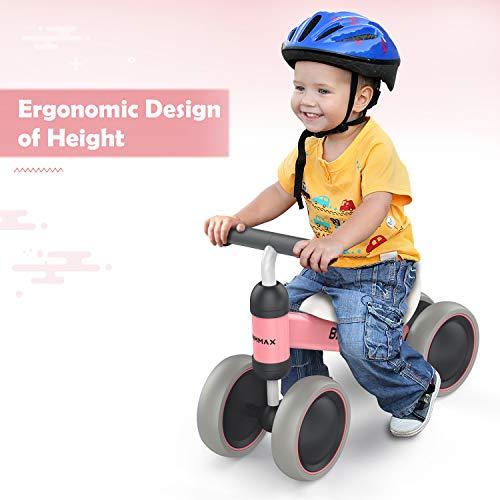 Bammax Vélo Bébé Draisienne pour Bébé de 1 an-18 Mois, Vélo Enfant sans Pédales Jouet Educatif Baby Walker, Premier Anniversaire Cadeau pour Garçons Filles, Rose