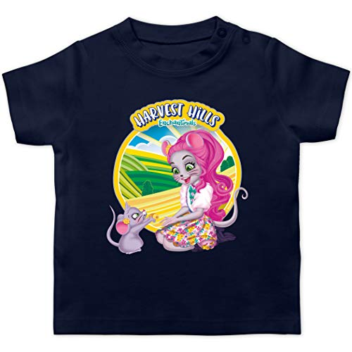 Enchantimals Baby - Harvest Hills - Mayla Mouse - 3/6 Monate - Navy Blau - Mayla Mouse & Fondue - BZ02 - Baby T-Shirt Kurzarm