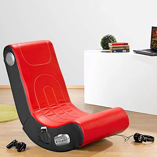Monsterzeug Soundsessel - rot, Sessel mit integrierten Lautsprechern, Musiksessel aus Kunstleder, Stuhl für Gamer mit Musikboxen, Platzsparend, schwarz-rot