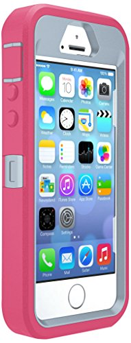 OtterBox DEFENDER SERIES Case for iPhone SE (1st gen - 2016) and iPhone 5/5s - Retail Packaging - WILD ORCHID (POWDER GREY/BLAZE PINK)