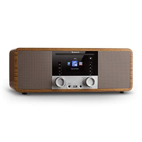AUNA IR-190 - Digitalradio, Internetradio, UKW Radio, 2 x 8 W RMS, Wecker, Netzwerkplayer, Bluetooth, USB-Port, AUX-Eingang, WLAN-Radio, 2, 8-Zoll TFT-Farbdisplay, braun