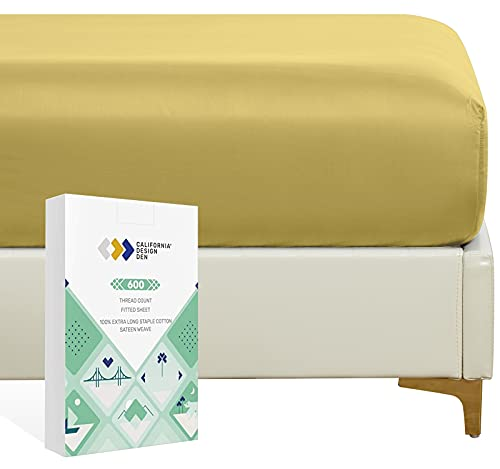 Luxury Hotel Twin Fitted Sheet, Soft Authentic 100% Cotton Sateen, No-pop Snug Fits All Mattresses, Deep Pocket Bottom Sheet - Foot Side Indicator - Gold