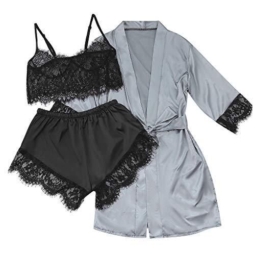 Brizz 3-delige set ondergoed voor dames, satijn, silk pyjama's, robe, kant, lingerie, vrouwen, nachtgoed, broeken met riem, nachthemd, gebreid vest, woonkleding, comfortabel en ademend