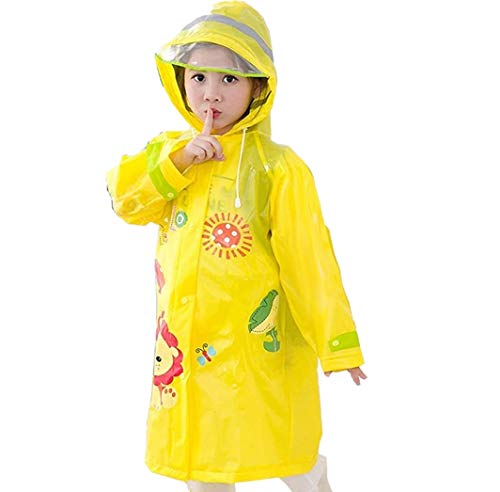 Kavish Kids Girls and Boys, Rainwear Cartoon Printed Waterproof Hood Jacket for School Outdoors (1 Piece) (3-4 Years)