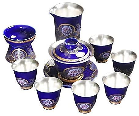 ZQADTU Juego de 9 Piezas de Tetera de Plata Juego de té de Plata Juego de té de de Plata esterlina Juego de tazón de Tapa Plateada Caja de Regalo de cerámica para el hogar
